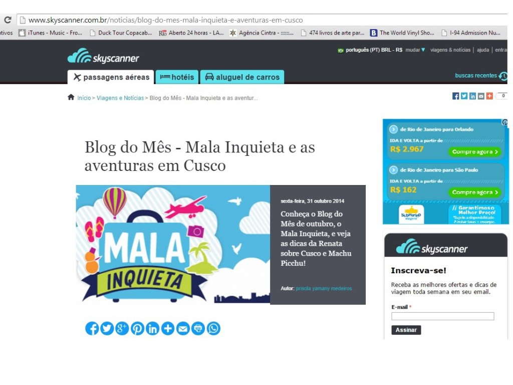Blog do mês no Skyscanner