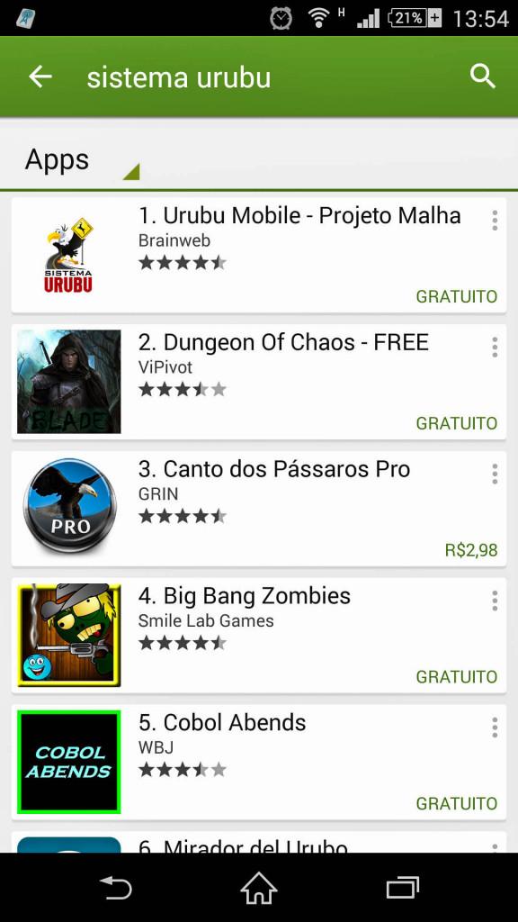 Sistema Urubu na busca do Sistema Android