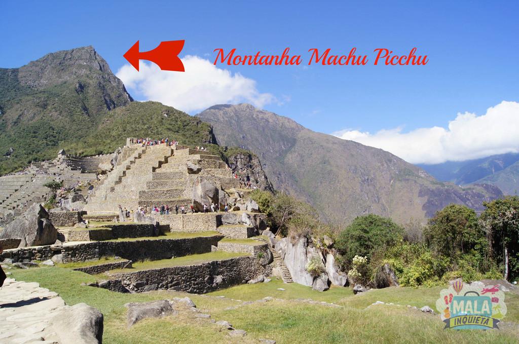 Montanha Machu Picchu vista das ruínas da cidade.