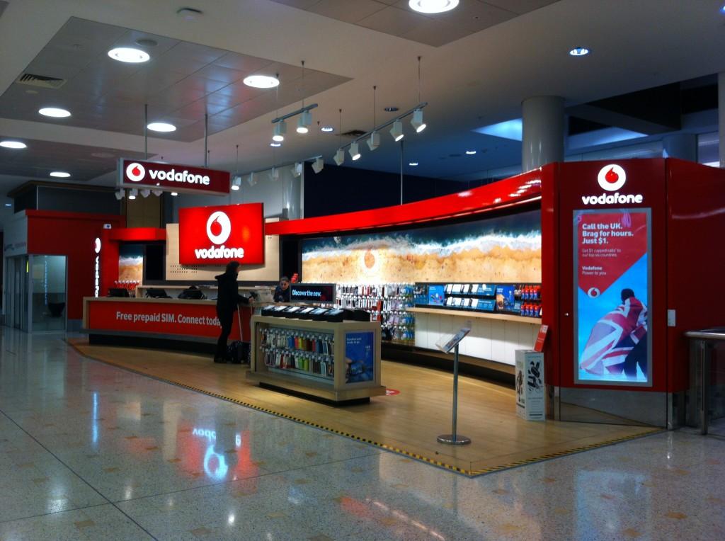 Loja Vodafone no terminal internacional do aeroporto de Sydney.