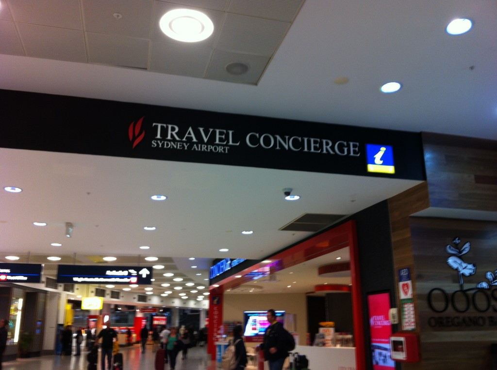 Travel Concierge no Aeroporto Internacional de Sydney.