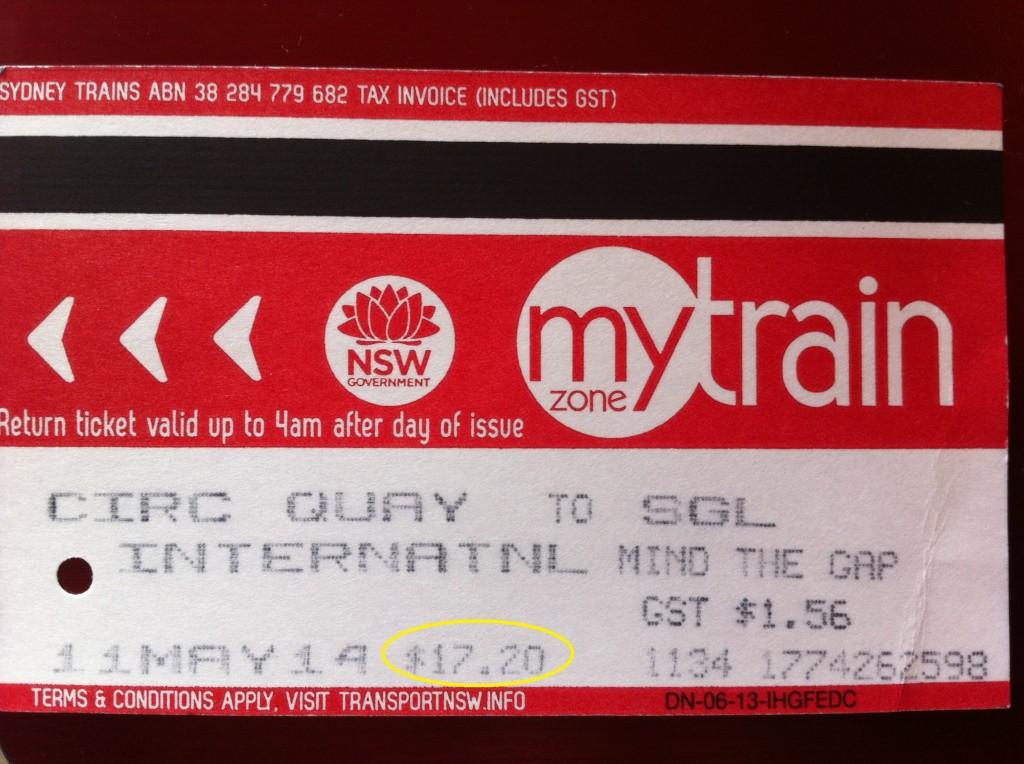 Bilhete do Train mostrando o valor do trecho até o aeroporto e foi o mesmo preço pago para sair do aeroporto até outra estação.