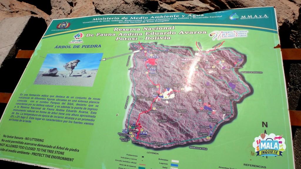 Mapa da Reserva Nacional de Fauna Andina Eduardo Avaroa. Foto: Lisane Monteiro