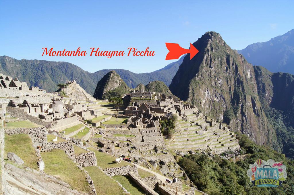Foto clássica de Machu Picchu, com a Montanha Huayna Picchu ao fundo.