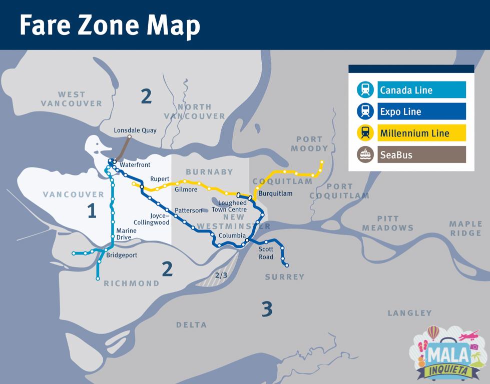 mapa das zonas com as linhas de SkyTrain e SeaBus | Fonte: Translink
