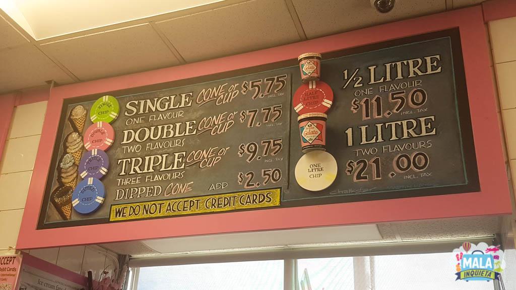 Preços dos sorvetes da La Casa Gelato em julho de 2018